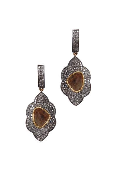 Loriann - Gold & Silver Scalloped Marquise Diamond Earrings