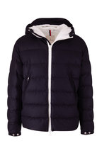 Moncler - Vaab Navy Wool Hooded Quilted Down Jacket