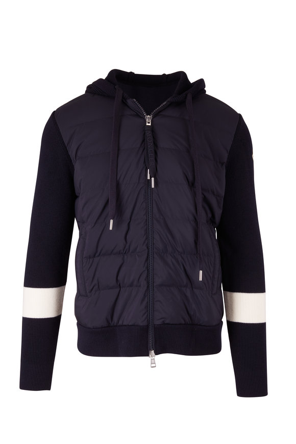 Moncler Navy Mixed Media Puffer Jacket