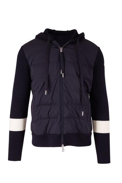 Moncler - Navy Mixed Media Puffer Jacket