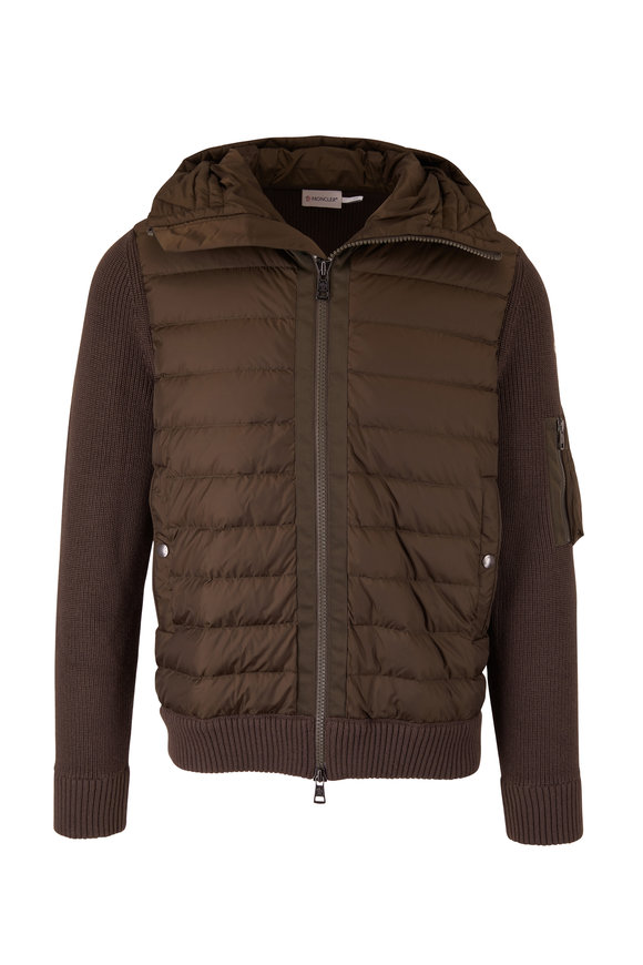 Moncler Olive Mixed Media Quilted Zip Jacket