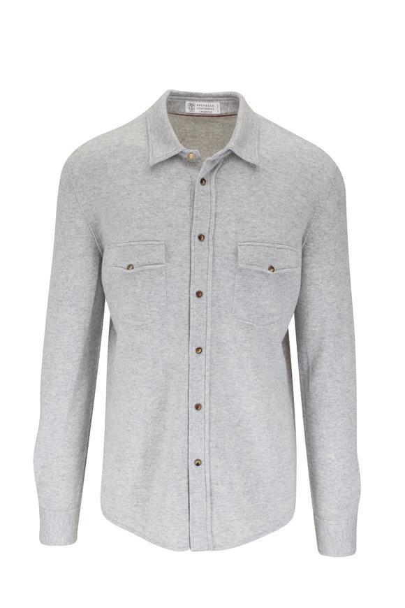 Brunello Cucinelli Light Gray Western Overshirt