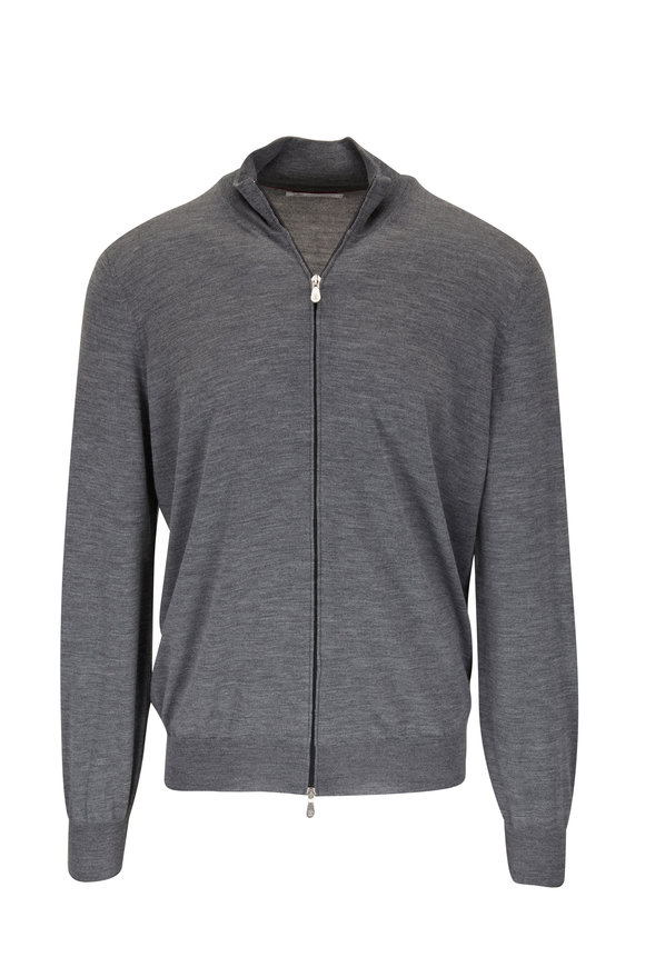 Brunello Cucinelli Charcoal Wool & Cashmere Zip Front Sweater