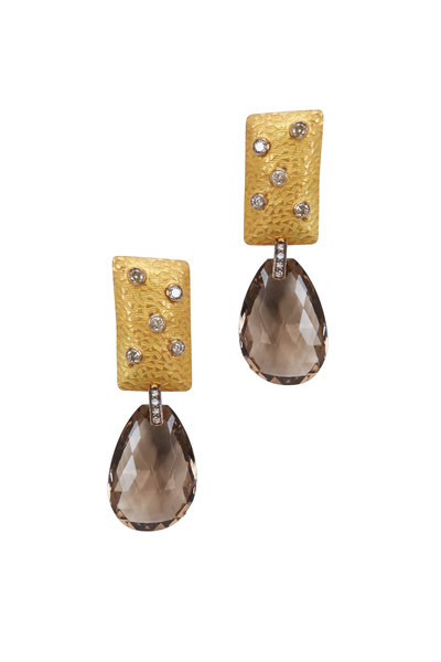 Loriann - Gold & Silver Smoky Topaz Diamond Earrings