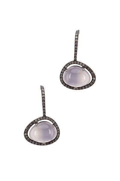 Loriann - Rose Quartz White Diamond Earrings