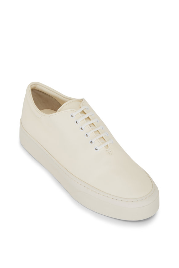 The Row Marie H Milk Napa Leather Low Top Sneaker