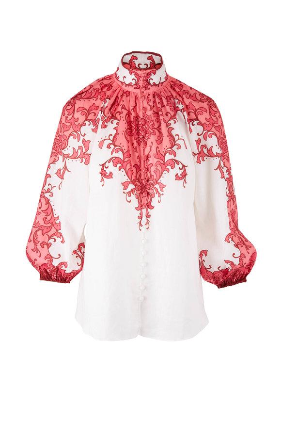 Zimmermann Nine Pink & White Blouse