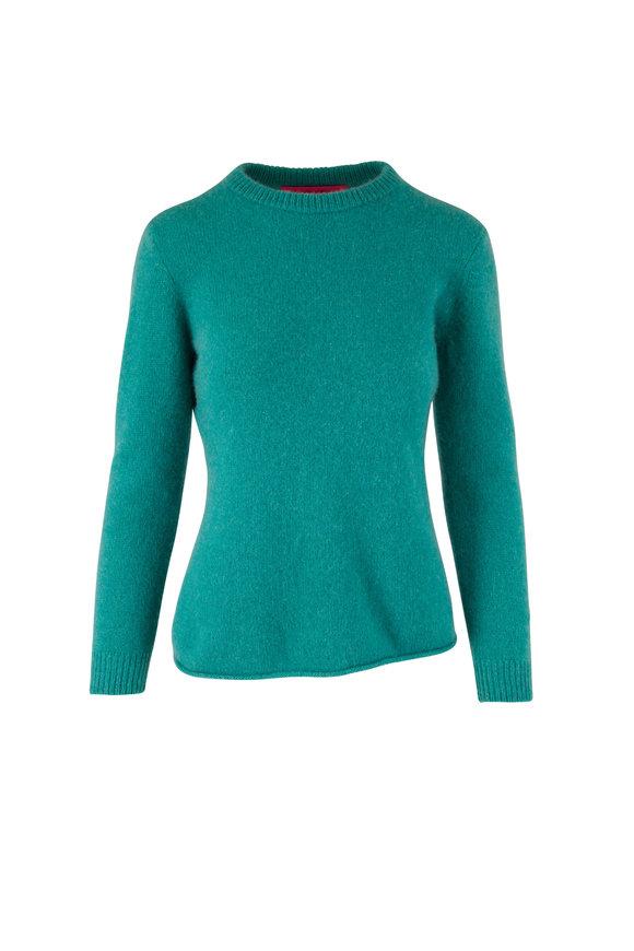 The Elder Statesman Teal Heavy Cashmere Crewneck Sweater