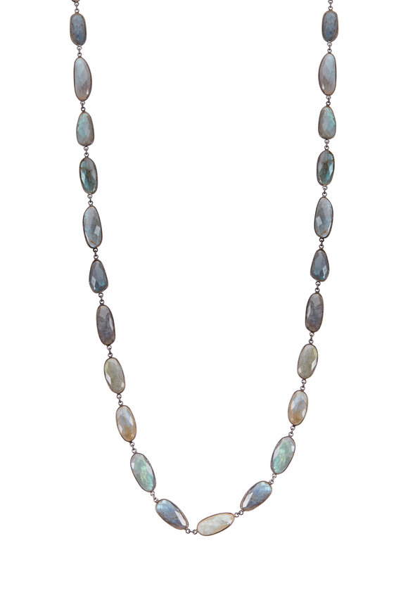 Loriann Elongated Labradorite Accessory Chain Necklace