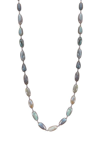 Loriann - Elongated Labradorite Accessory Chain Necklace