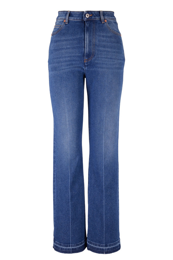 Valentino Denim Leather VLogo Patch Jean