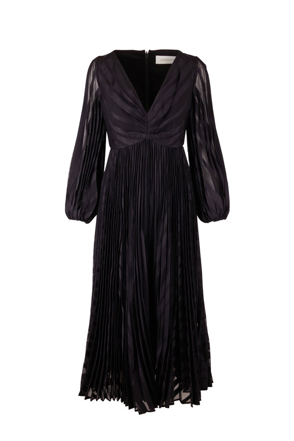 Zimmermann Burnout Sunray Black Midi Dress