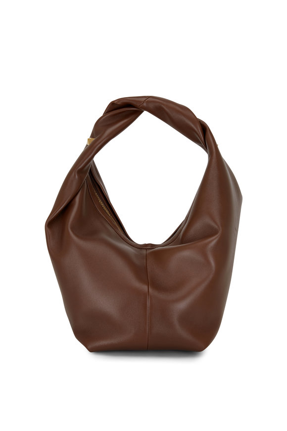 Valentino Garavani Teak Brown Leather Hobo Bag