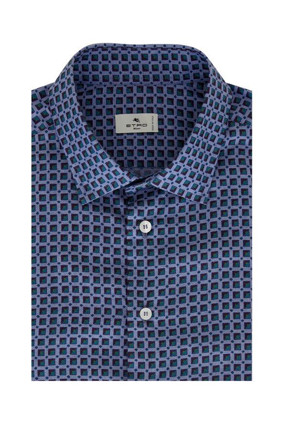 Etro Light Blue Box Print Cotton Sport Shirt