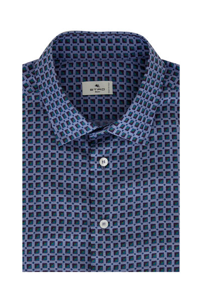 Etro - Light Blue Box Print Cotton Sport Shirt