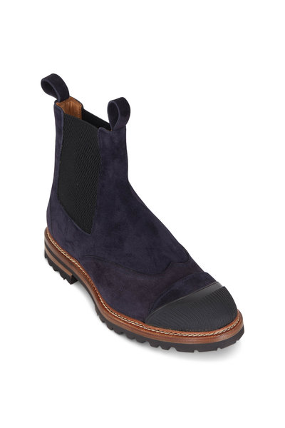 Kiton - Navy Suede Lug Sole Chelsea Boot