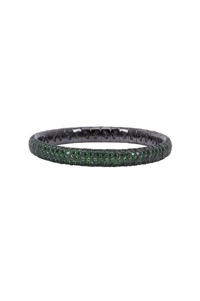 Mattia Cielo - 18K Rhodium Gold Green Tsavorite Bracelet
