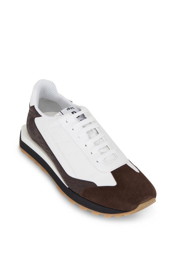 Berluti White & Brown Nylon & Scrito Leather Sneaker