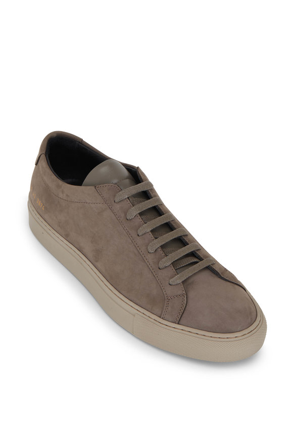 Common Projects Achilles Warm Gray Suede Low Top Sneaker