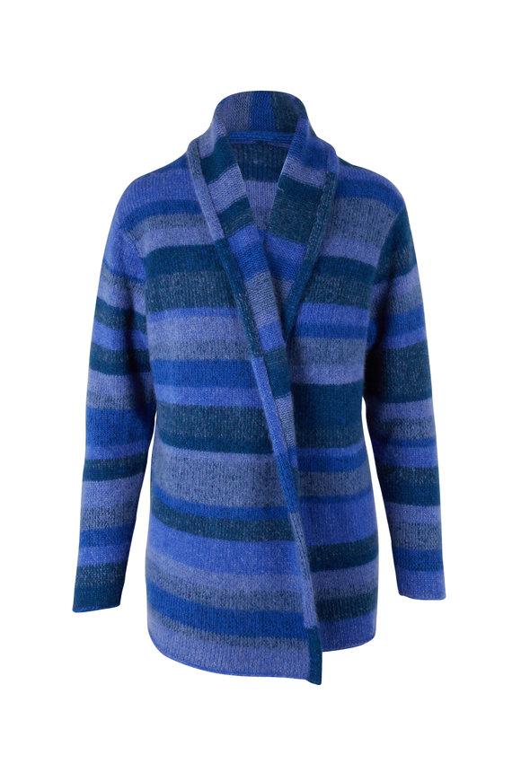 The Elder Statesman Blue Jean Stripe Cashmere Italy Smoking Jacket