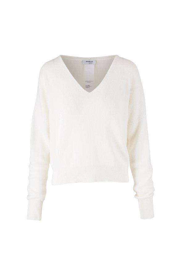 Akris Punto Cream Cashmere & Wool V-Neck Sweater