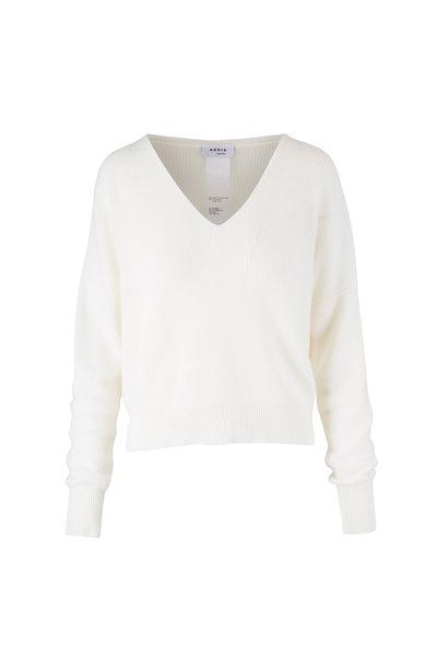Akris Punto - Cream Cashmere & Wool V-Neck Sweater