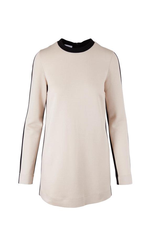Akris Punto Chalk & Back Bi-Color Jersey Tunic