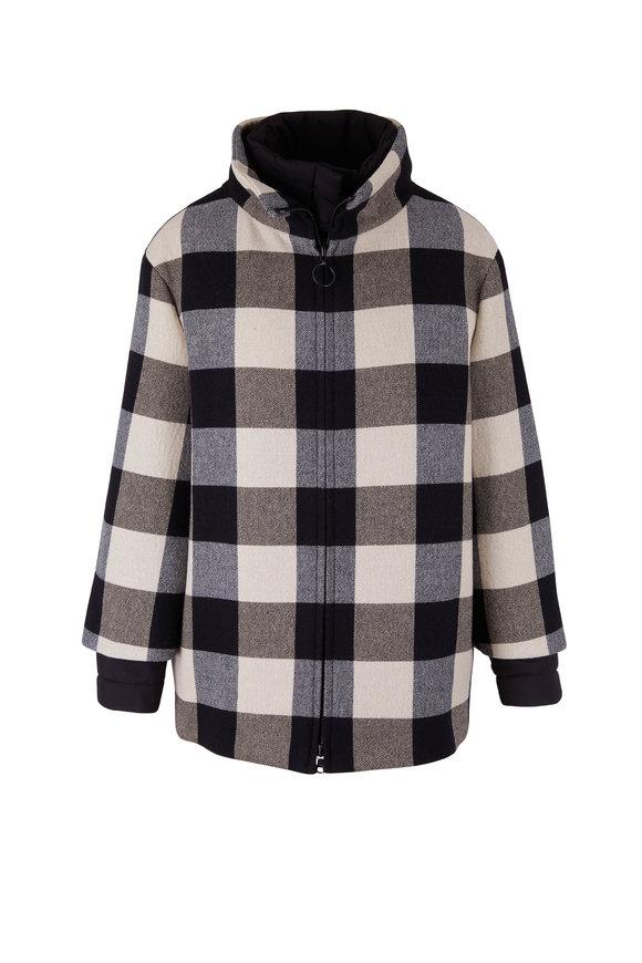 Akris Punto Chalk & Black Check 2-In-1 Coat