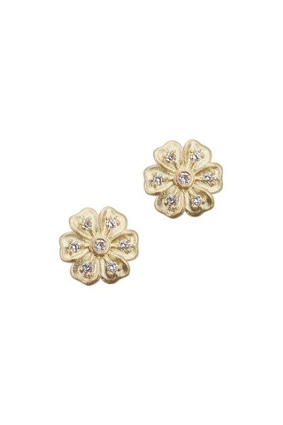 Jamie Wolf - Yellow Gold White Diamond Lilac Stud Earrings