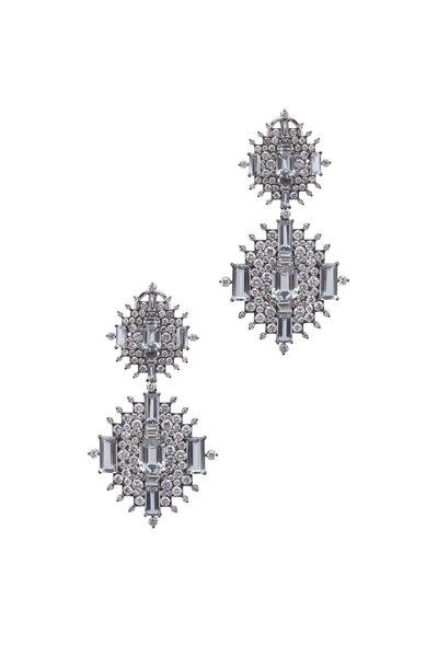 Nam Cho - White Gold White Sapphire Aqua Diamond Earrings