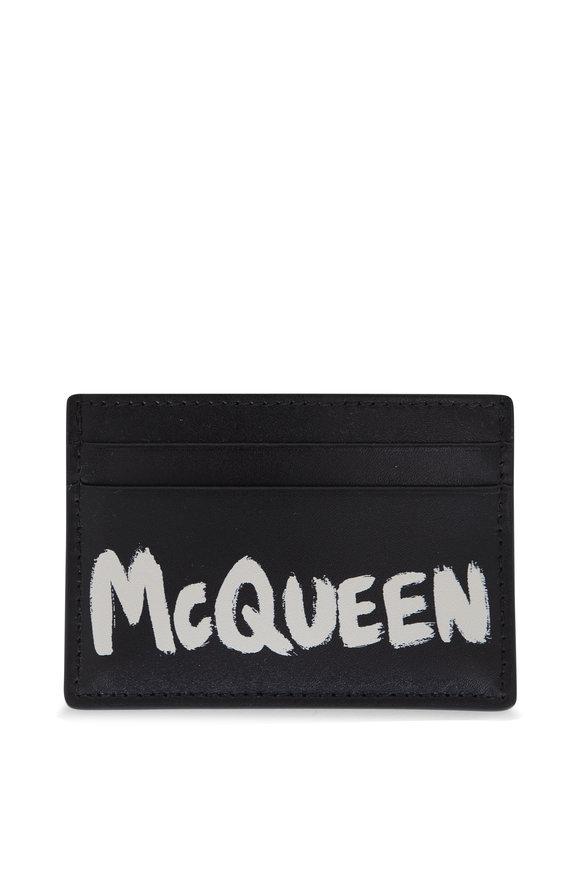Alexander McQueen Black & White Graffiti Leather Card Case