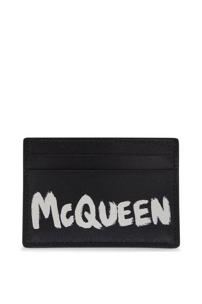 Alexander McQueen - Black & White Graffiti Leather Card Case