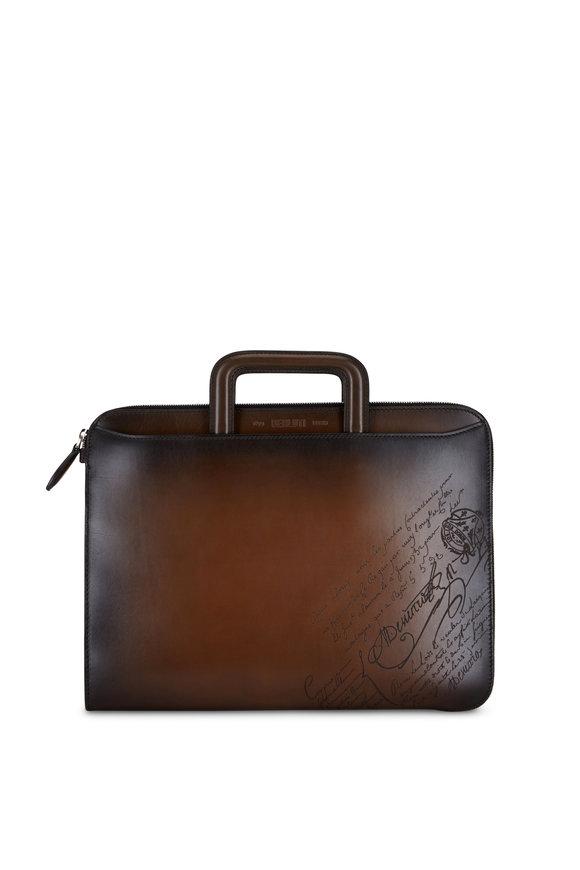 Berluti Lift Scritto TDM Leather Swipe Briefcase