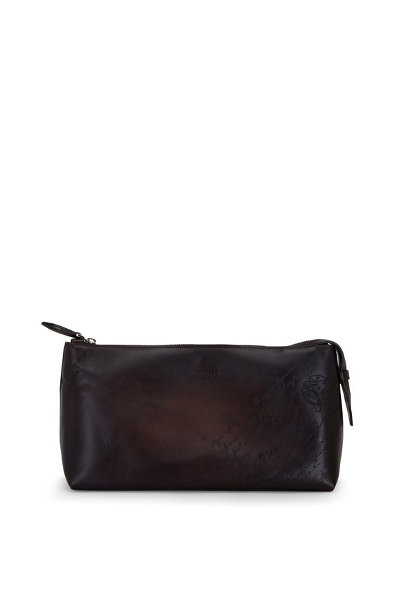 Berluti Ivy VN Dark Brown Scritto Leather Dopp Kit
