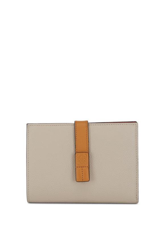 Loewe Vertical Oat & Tan Leather Medium Wallet