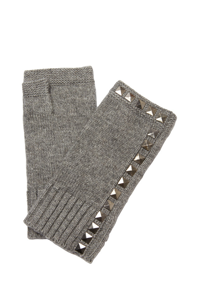 Gray Wool & Cashmere Studded Fingerless Gloves