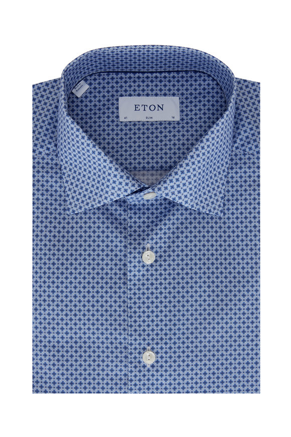 Eton Light Blue Geo Print Slim Fit Sport Shirt