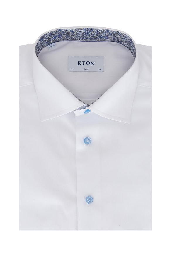 Eton Solid White Twill Slim Fit Sport Shirt