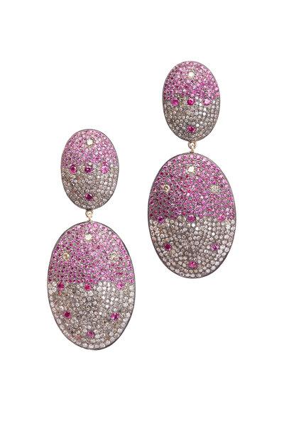 Loren Jewels - Gold Pink Sapphire Diamond Dangle Earrings