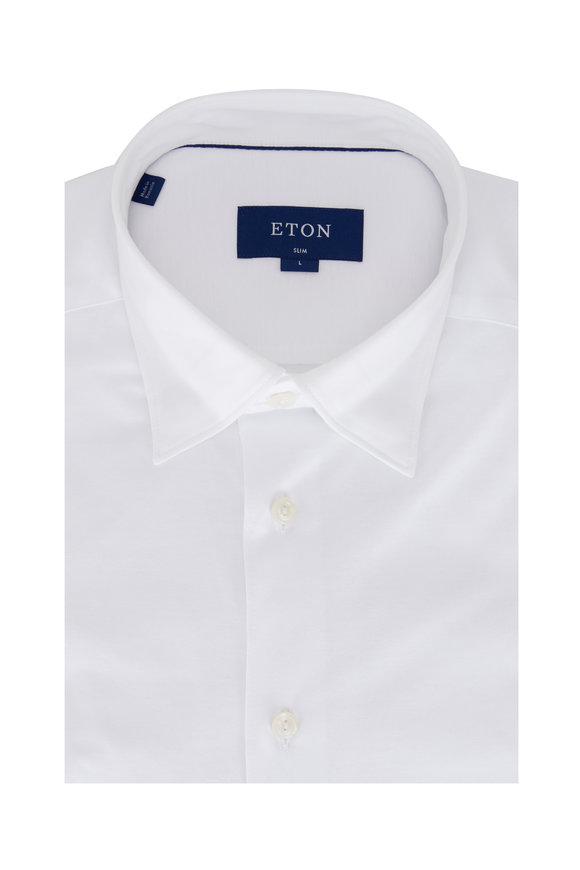 Eton White Jersey Slim Fit Sport Shirt