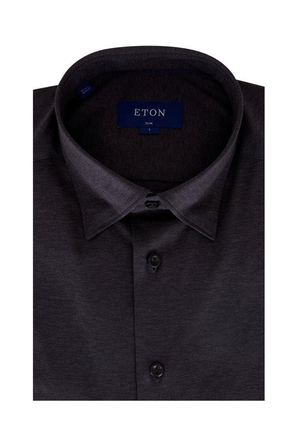 Eton Brown Slim Fit Jersey Sport Shirt