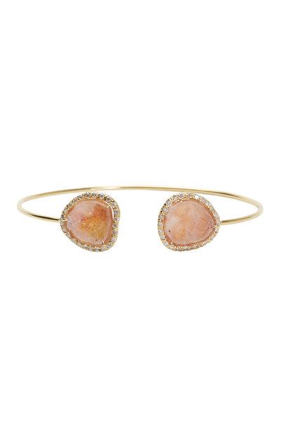 Kimberly McDonald - Yellow Gold Geode Diamond Wire Cuff Bracelet