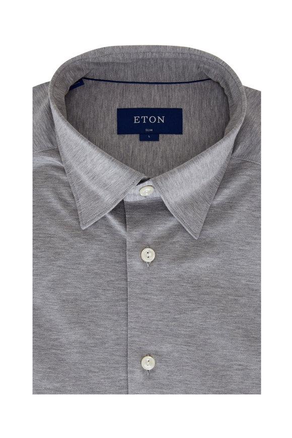 Eton Light Gray Jersey Slim Fit Sport Shirt