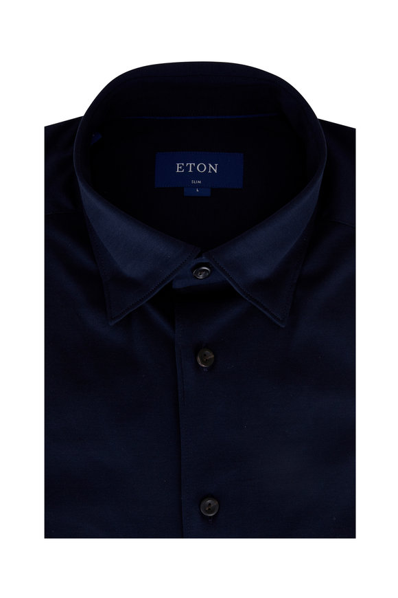 Eton Navy Slim Fit Jersey Sport Shirt