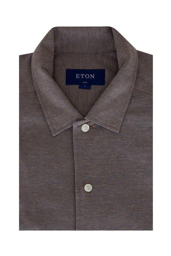 Eton Brown Mouline Jersey Slim Fit Sport Shirt