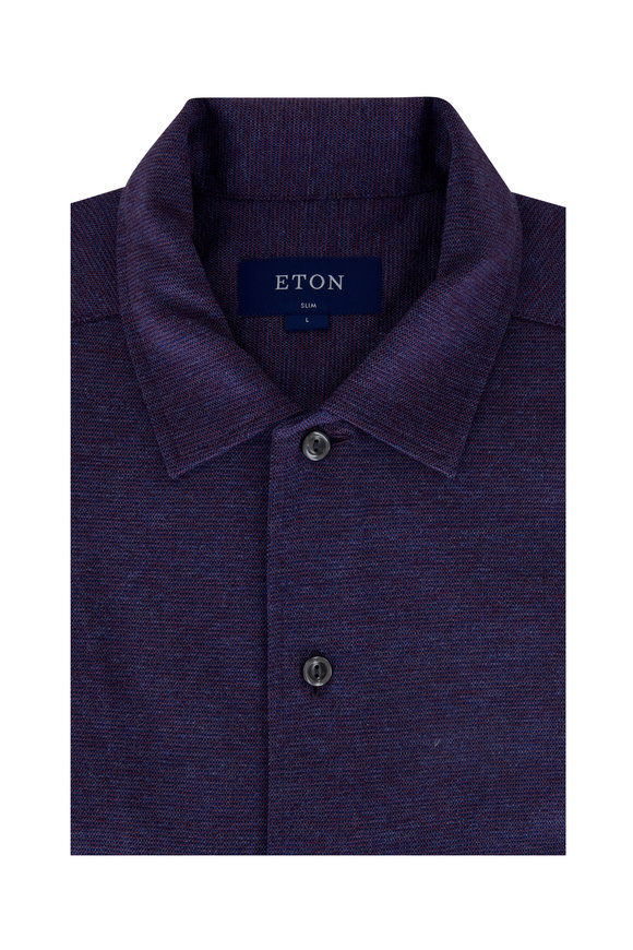 Eton Purple Mouline Jersey Slim Fit Sport Shirt