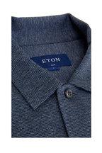Eton - Blue Mouline Jersey Slim Fit Button Down Shirt