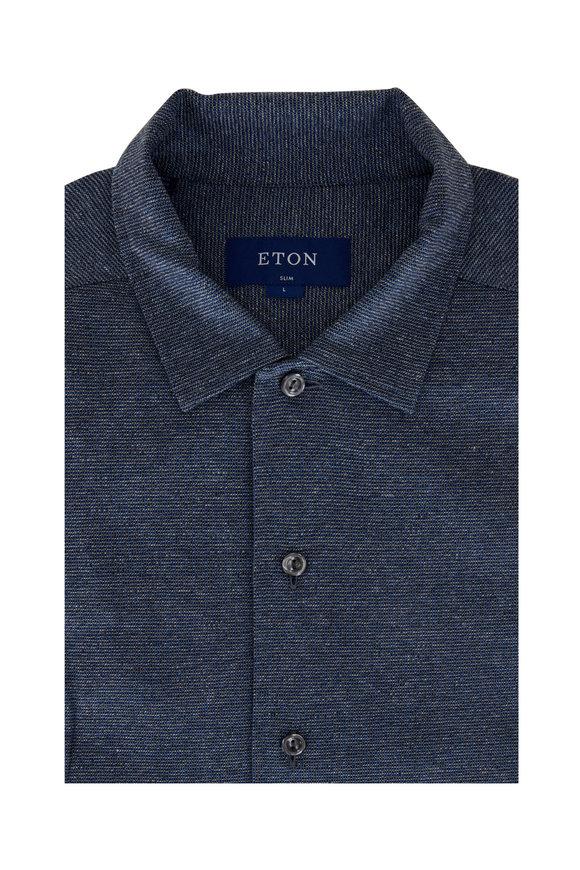 Eton Blue Mouline Jersey Slim Fit Button Down Shirt