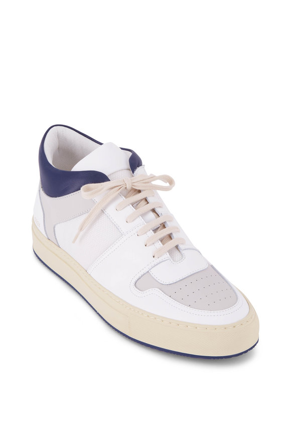 Common Projects BBall White & Navy Mid-Top Leather Sneaker