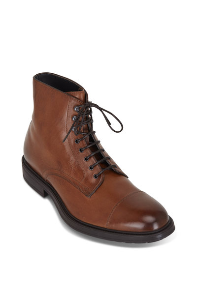 To Boot New York - Burkett Brandy Leather Lace-Up Boot